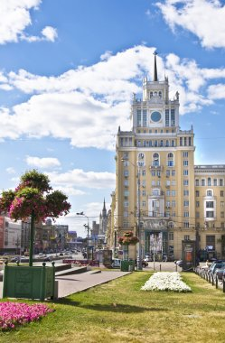 Moscow, skyscraper on Triumphalnaya square