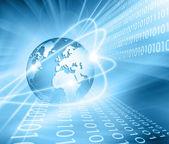 Bestes Internet-Konzept des globalen Geschäfts. Globus, glühende Linien auf technologischem Hintergrund. Elektronik, Wi-Fi, Strahlen, Symbole Internet, Fernsehen, Mobilfunk und Satellitenkommunikation