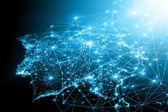 Fotografie Beste Internet-Konzept des globalen Geschäfts. Technologischer Hintergrund. Strahlen Symbole Wi-Fi, Internet, Fernsehen, Handy und Satellitenkommunikation