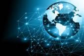 Legjobb Internet fogalma, a globális üzleti. Globe, izzó vonalak a technológiai háttér. Elektronika, Wi-Fi-vel, sugarak, szimbólumok, Internet, televízió, mobil és műholdas communicationsblue elmosódott