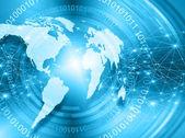 Fotografie Mapa světa na technologické zázemí, zářící linky symboly z Internetu, rozhlasu, televize, mobilní a satelitní komunikace