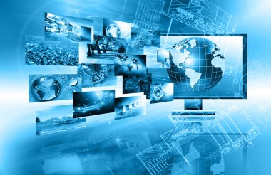 Best Internet Concept of global business. Globe and glowing lines on technological background. Electronics, Wi-Fi, rays, symbols Internet, television, mobile and satellite communications