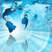 Fotografie Beste Internet-Konzept des globalen Geschäfts. Globus, leuchtende Linien auf technologischen Hintergrund. Elektronik, Wi-Fi, Strahlen, Symbole Internet, Fernsehen, Mobile und Satellitenkommunikation