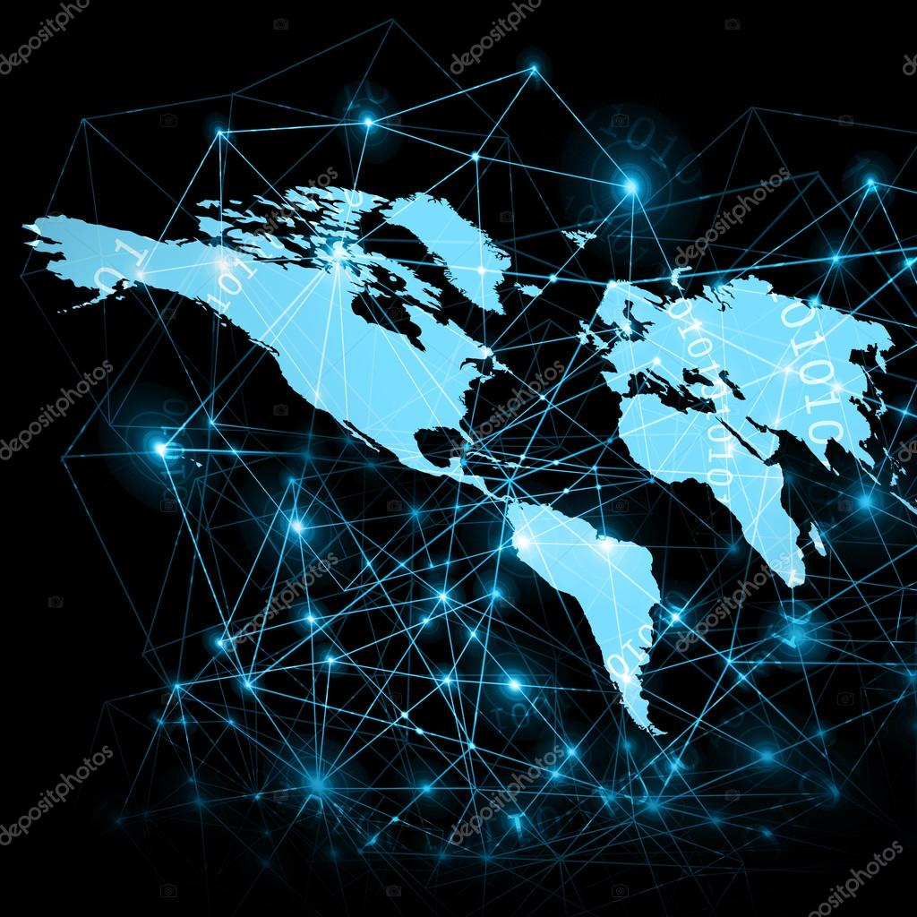 World map on a technological background glowing lines symbols of world map on a technological background glowing lines symbols of the internet radio gumiabroncs Gallery