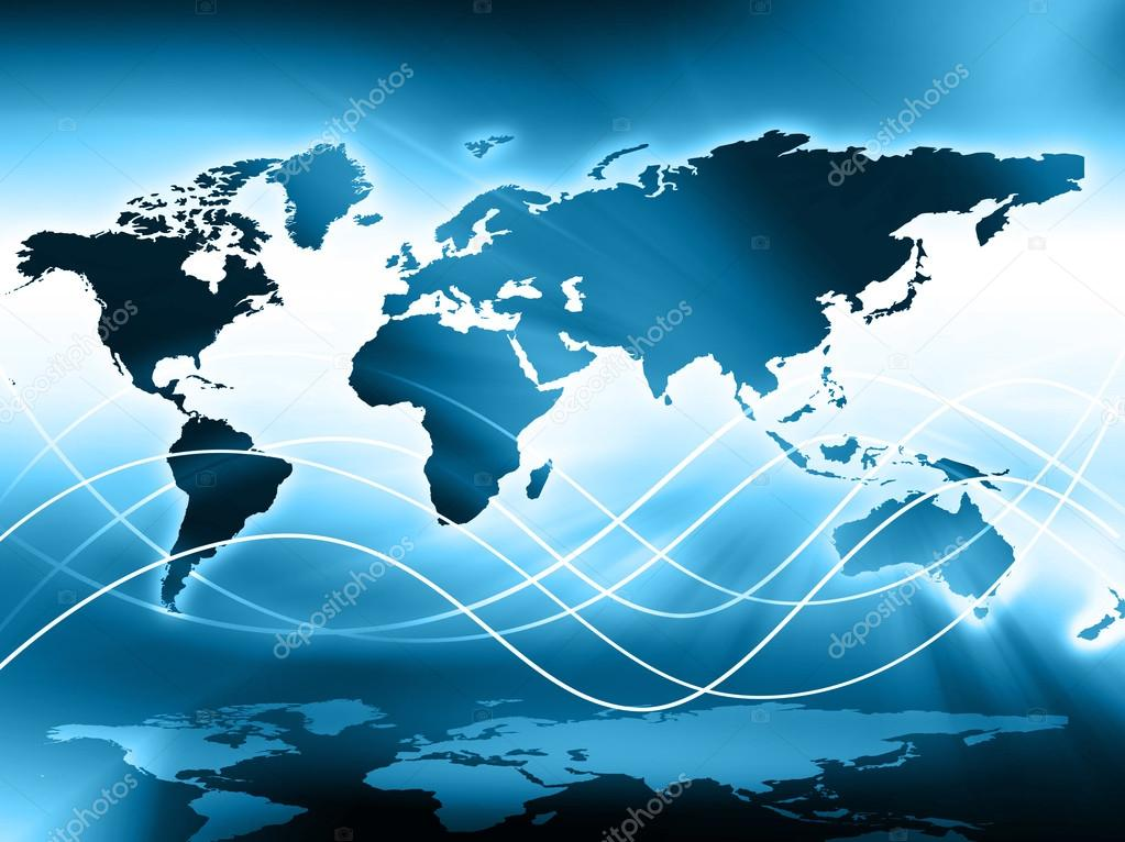 World map on a technological background glowing lines symbols of world map on a technological background glowing lines symbols of the internet radio television mobile and satellite communications gumiabroncs Images
