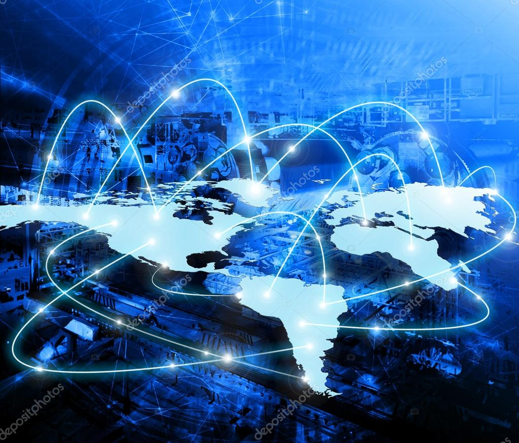 World map on a technological background glowing lines symbols of world map on a technological background glowing lines symbols of the internet radio television mobile and satellite communications gumiabroncs Choice Image