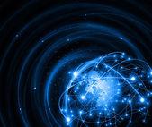 Nejlepší internetová koncepce globálního podnikání. Globe, zářící čáry na technologickém pozadí. Elektronika, Wi-Fi, paprsky, symboly Internet, televize, mobilní a satelitní komunikace