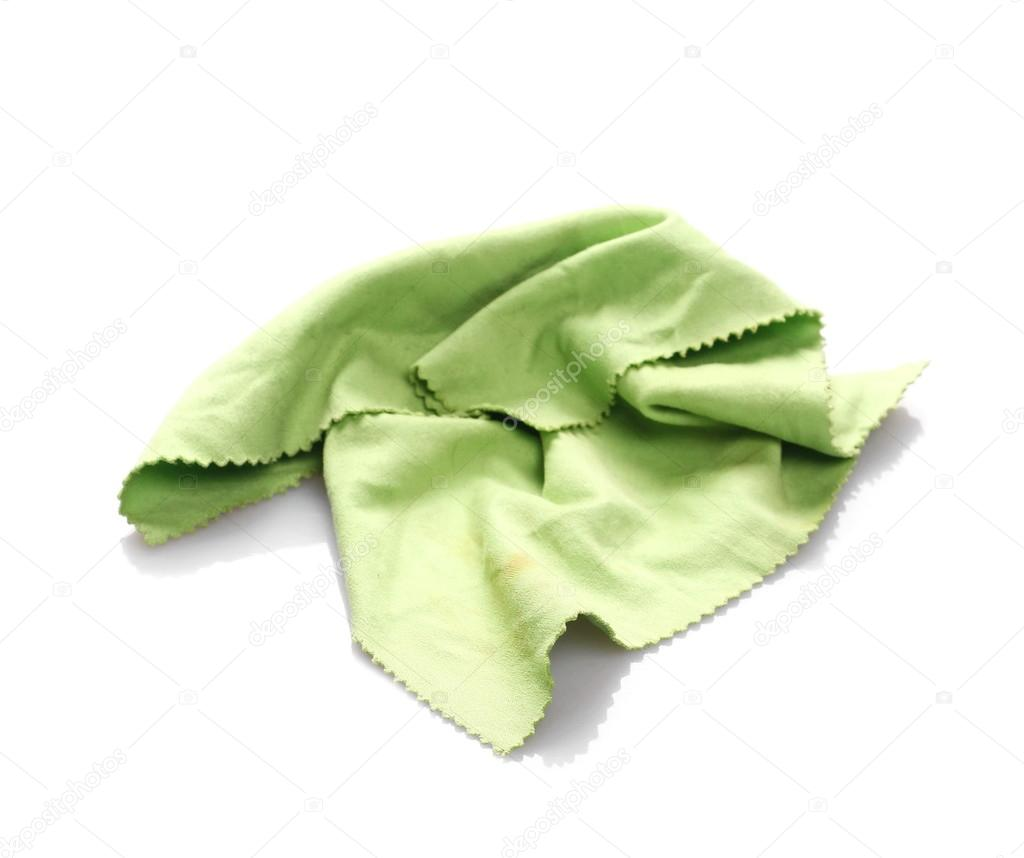 7619e08f4 Crumpled green microfiber cloth isolated on white background — Stock ...