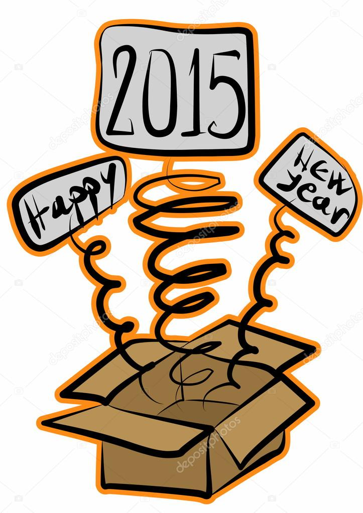 editable happy new year 2015 layer label surprise box stock photo
