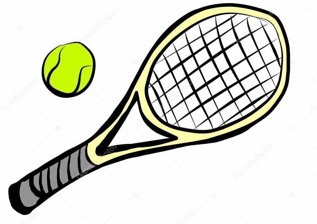 Balle et raquette de tennis de dessin anim photographie - Dessin raquette ...