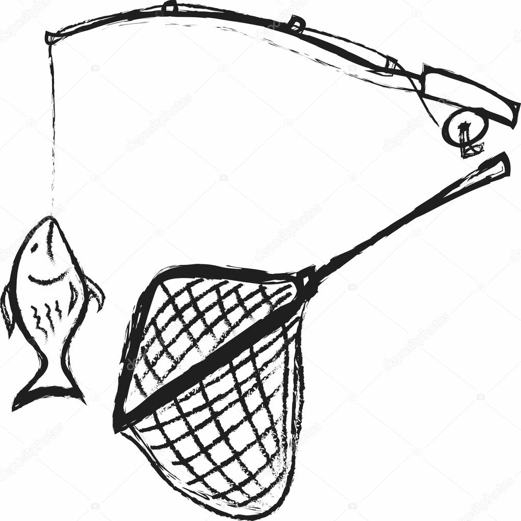 doodle fishing rod hooked fish and fishing net photo by dusan964