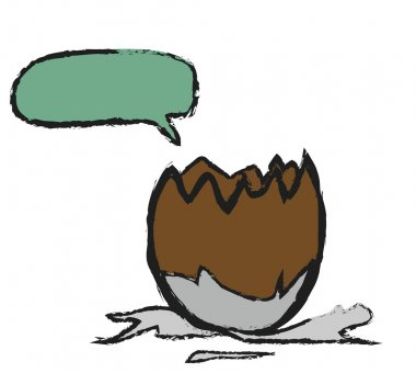 Doodle milk chocolate egg and speech bubble