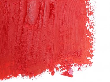 Photo red grunge brush strokes oil paint isolated on white background