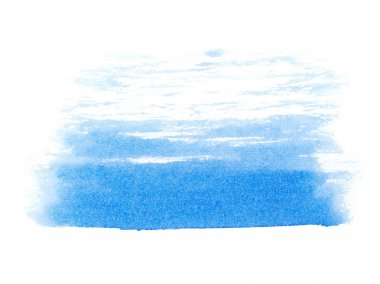 Photo blue ink hand painted brush strokes isolated on white