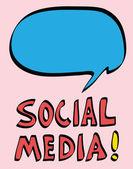 Sociální média karikatura a bublinu