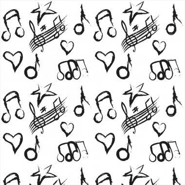 Pattern musical notes grunge colorful background,  illustration