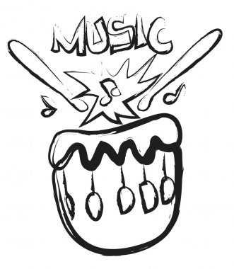 Doodle drum, drum sticks and musical notes
