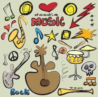 doodle set music background,  illustration grunge icon
