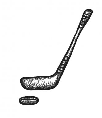 doodle hockey stick and puck