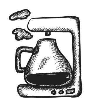 doodle coffee maker, illustration