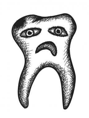 doodle rotten tooth,  illustration icon