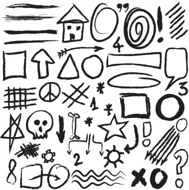 Set hand drawn, doodle, numbers, shapes, circle, square, star  illustration design elements