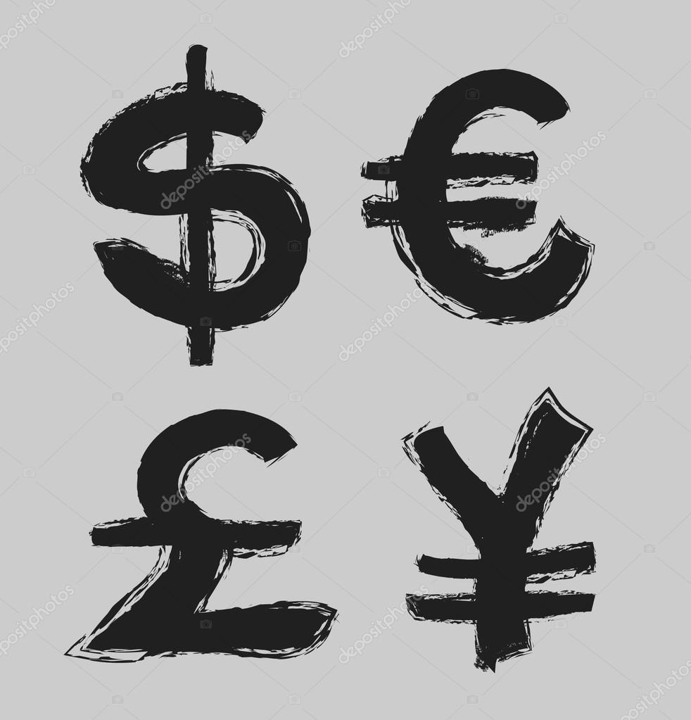 Currency Symbols And Money Coins Dollar Euro Yen And Pound