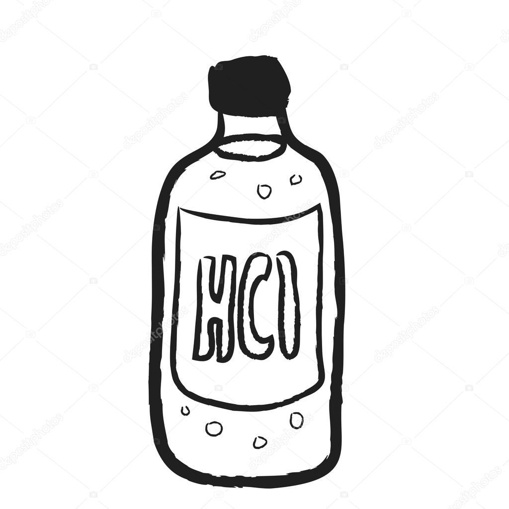 Doodle Bottle Of Hydrochloric Acid HCl Illustration Icon Photo By Dusan964