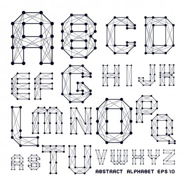 The abstract alphabet with points and being crossed lines