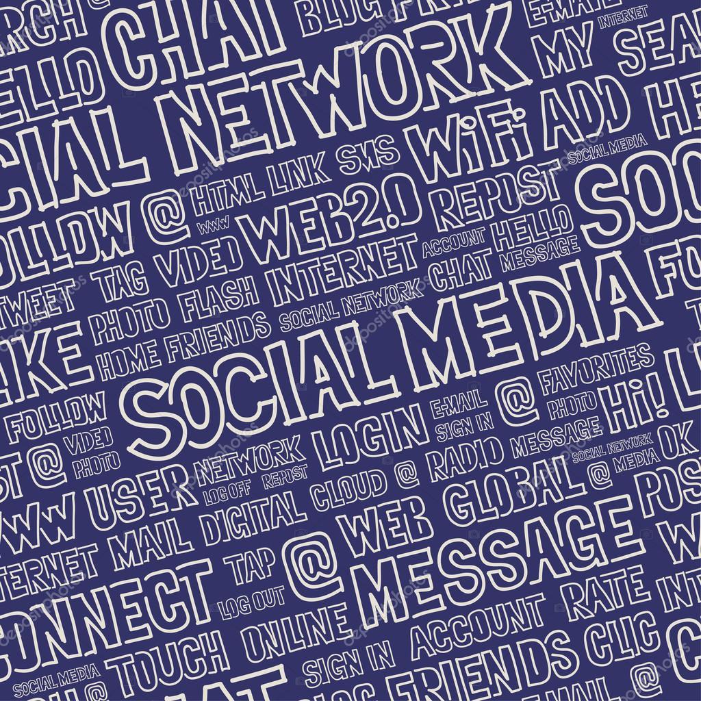 Social Media Words Seamless Pattern
