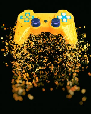 Game pad - pixel explosion stock vector