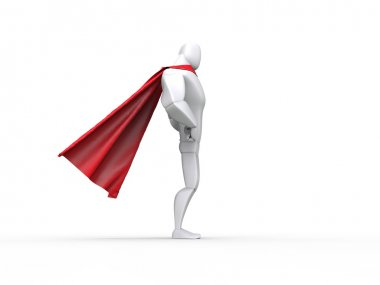 Superhero guy with red cape - side view