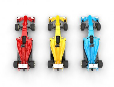 Formula one cars - primary colors - top view