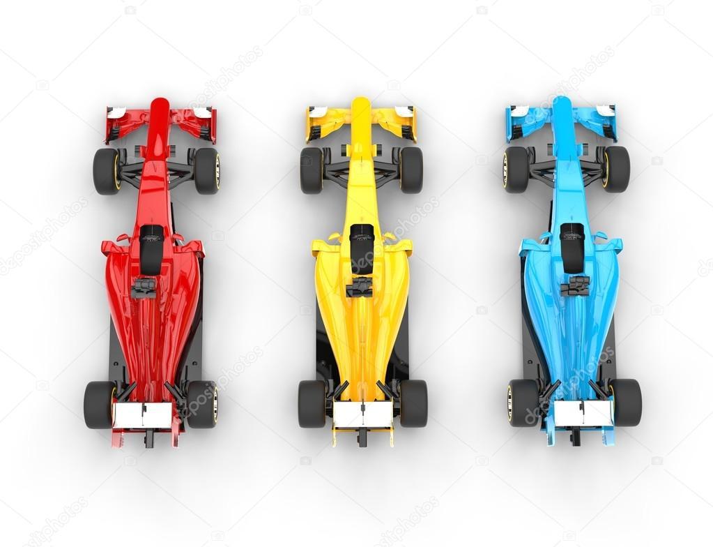 Primärfarben formel 1 autos primärfarben draufsicht redaktionelles
