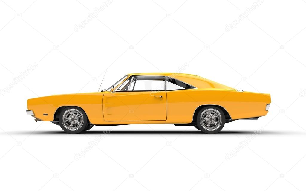 Yellow Vintage Muscle Car Side View Stock Editorial Photo