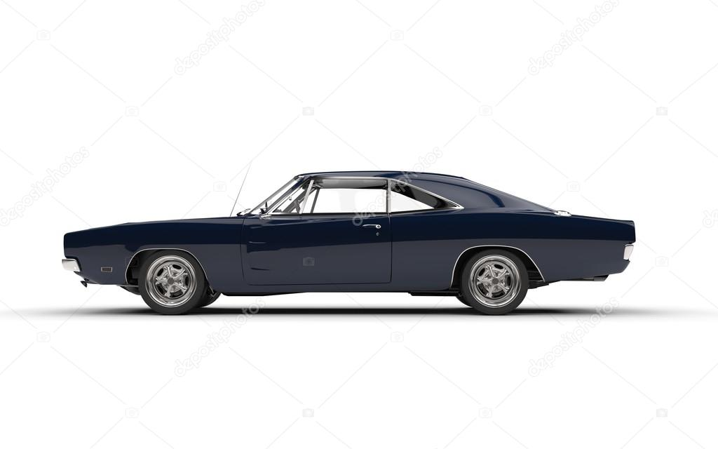 Black Vintage Muscle Car Side View Stock Editorial Photo