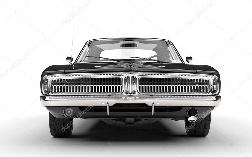 Black Muscle Car Front Grille View Stock Editorial Photo