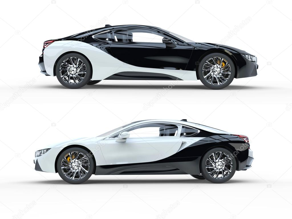 Black And White Modern Sports Cars Side View Stock Photo - Modern sports cars
