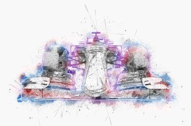 Formula one car - water color and ink digital illustration