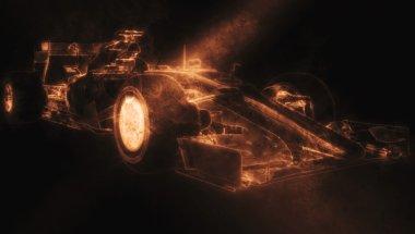 Formula One Car - Orange Smoke 3D Illustration