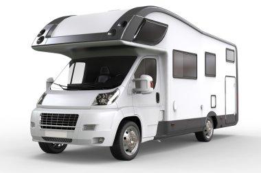 White camper vehicle - studio lighting closeup shot