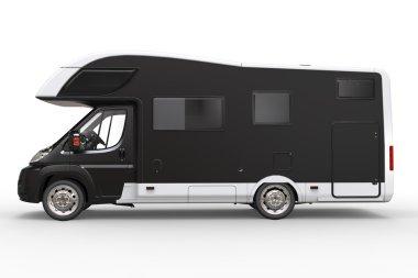 Big black camper vehicle - side view