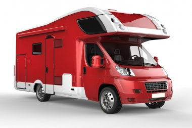 Big red and white camper vehicle - isolated on white background