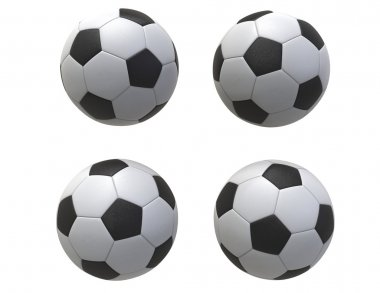 Four Soccer balls - isolated on white background