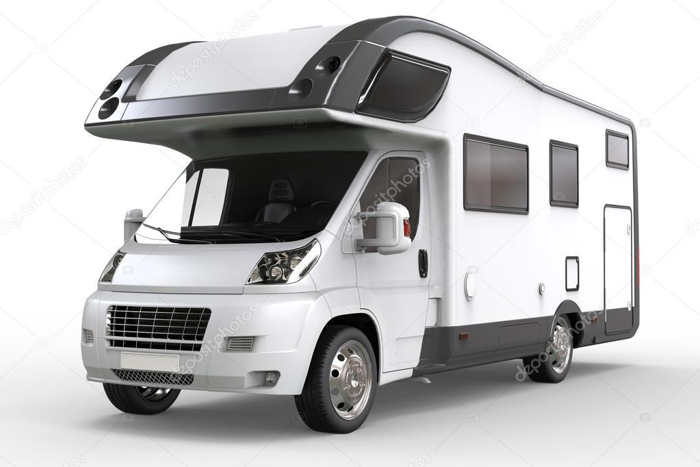 Witte camper voertuig - studio verlichting close-up shot — Stockfoto ...