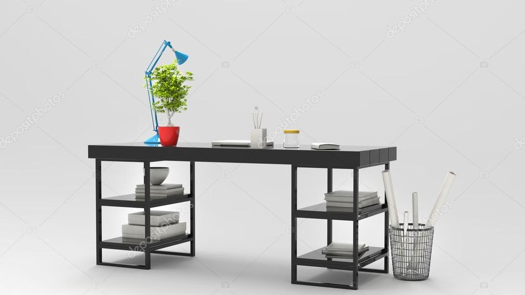 Lampade Da Tavolo Lavoro : Piano di lavoro moderno con lampada da tavolo blu e bella pianta