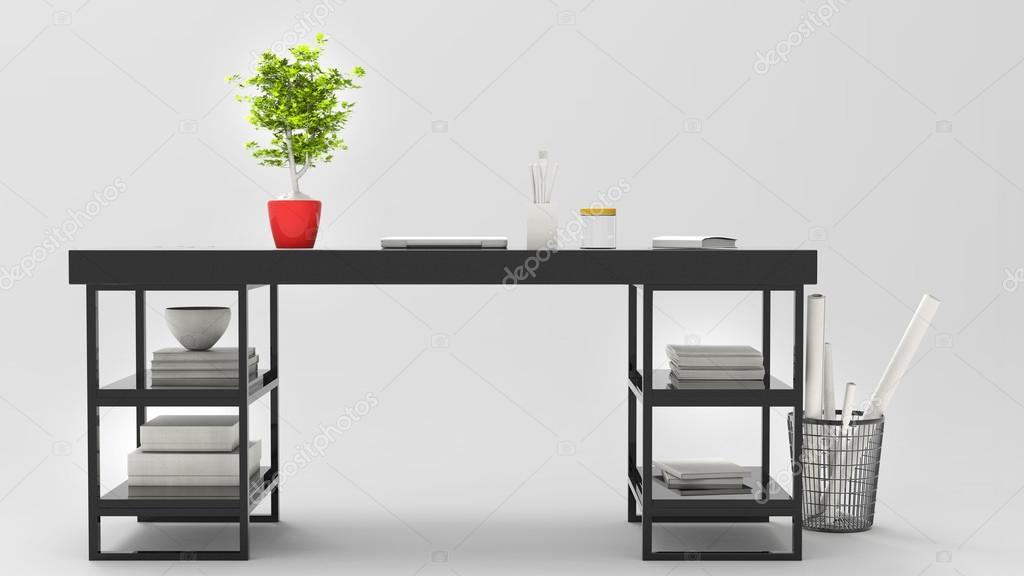Zwarte moderne kantoor bureau met mooie plant op het d