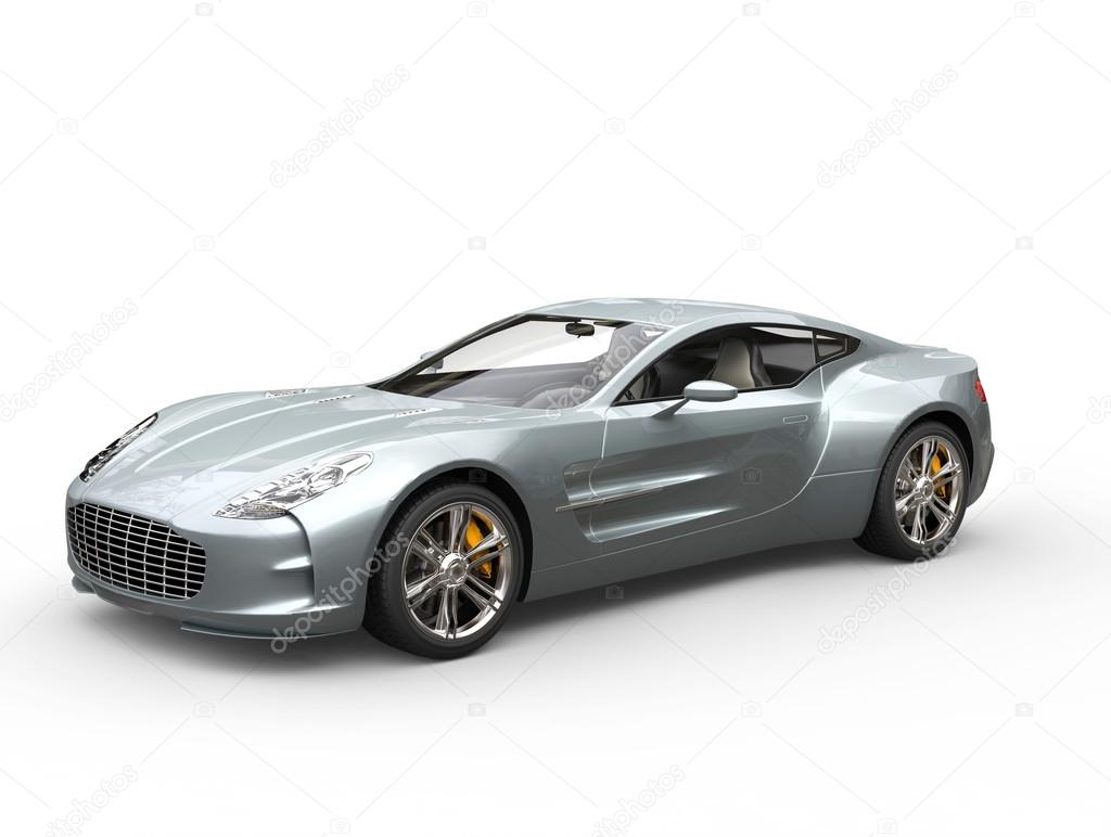Silver Blue Sports Car   Isolated On White Background U2014 Stock Photo