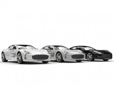 Monochrome sports cars in a row - isolated on white background stock vector