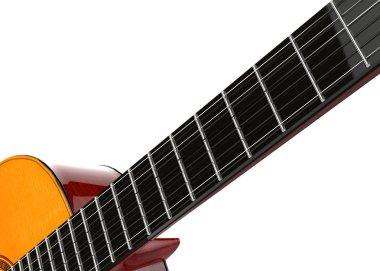 Guitar fretboard closeup shot